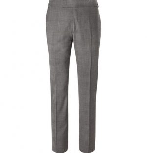 TOM FORD - Grey Slim-Fit Prince of Wales Checked Stretch-Wool Suit Trousers - Men - Gray