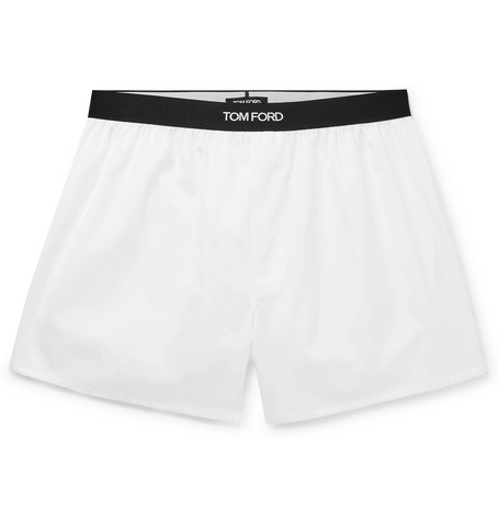 TOM FORD - Grosgrain-Trimmed Cotton Boxer Shorts - Men - White