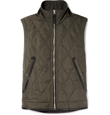 TOM FORD - Leather-Trimmed Quilted Nylon Gilet - Men - Green