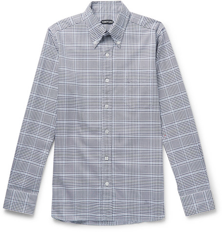 TOM FORD - Slim-Fit Button-Down Collar Checked Cotton Shirt - Men - Midnight blue