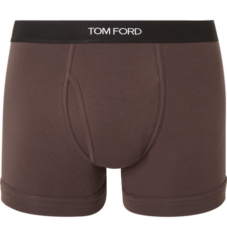 TOM FORD - Stretch-Cotton Boxer Briefs - Men - Brown