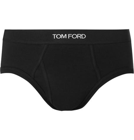 TOM FORD - Stretch-Cotton Briefs - Men - Black