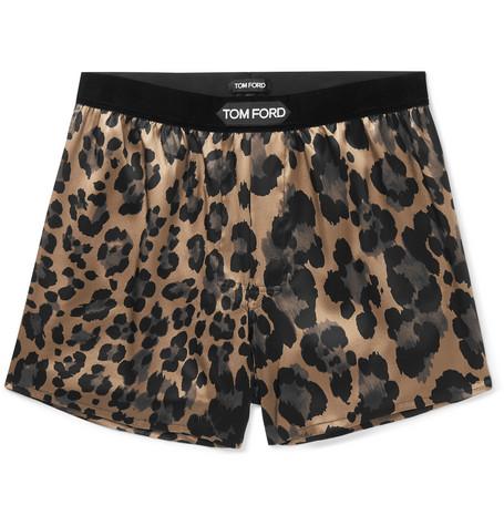 TOM FORD - Velvet-Trimmed Leopard-Print Stretch-Silk Boxer Shorts - Men - Brown