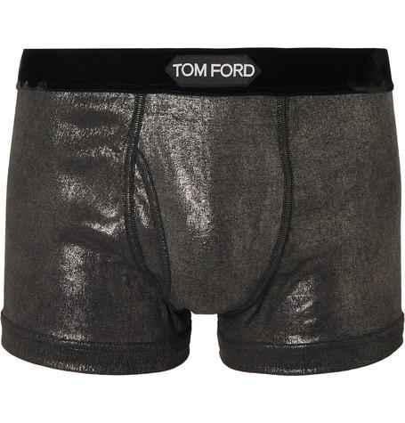 TOM FORD - Velvet-Trimmed Metallic Stretch-Cotton Jersey Boxer Briefs - Men - Metallic