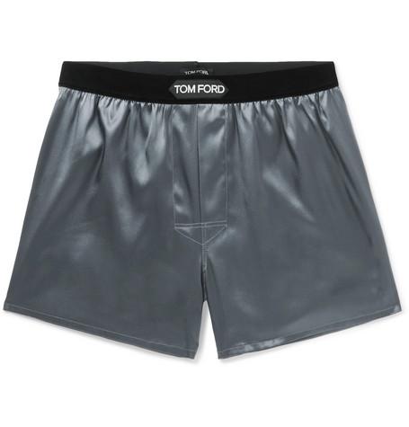 TOM FORD - Velvet-Trimmed Stretch-Silk Satin Boxer Shorts - Men - Dark gray