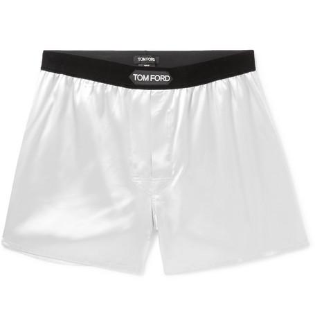 TOM FORD - Velvet-Trimmed Stretch-Silk Satin Boxer Shorts - Men - Gray