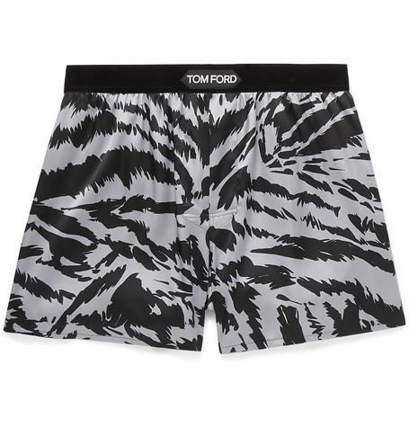TOM FORD - Velvet-Trimmed Zebra-Print Stretch-Silk Satin Boxer Shorts - Men - Multi