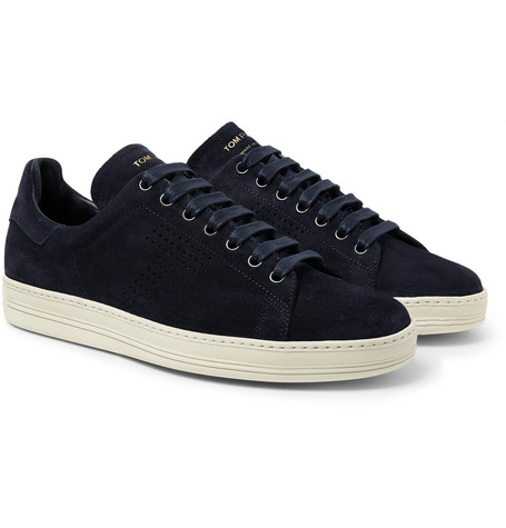 TOM FORD - Warwick Perforated Suede Sneakers - Men - Midnight blue