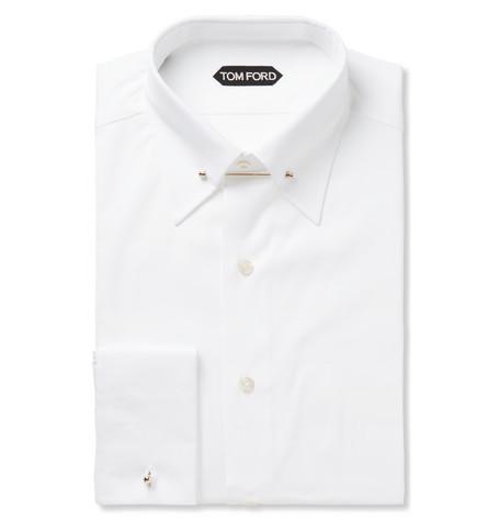 TOM FORD - White Slim-Fit Pinned-Collar Double-Cuff Cotton-Poplin Shirt - Men - White