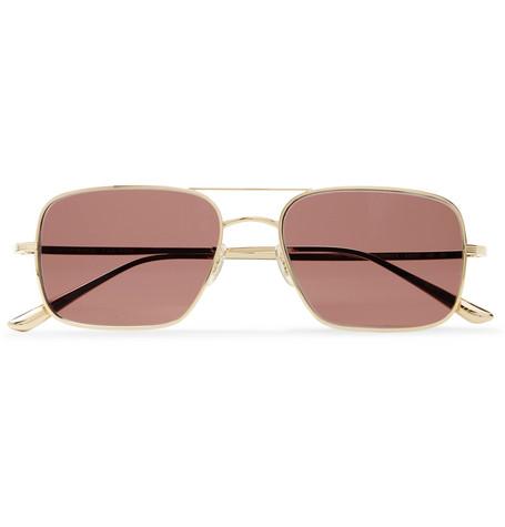 The Row - Oliver Peoples Victory LA Aviator-Style Gold-Tone Titanium Sunglasses - Men - Gold