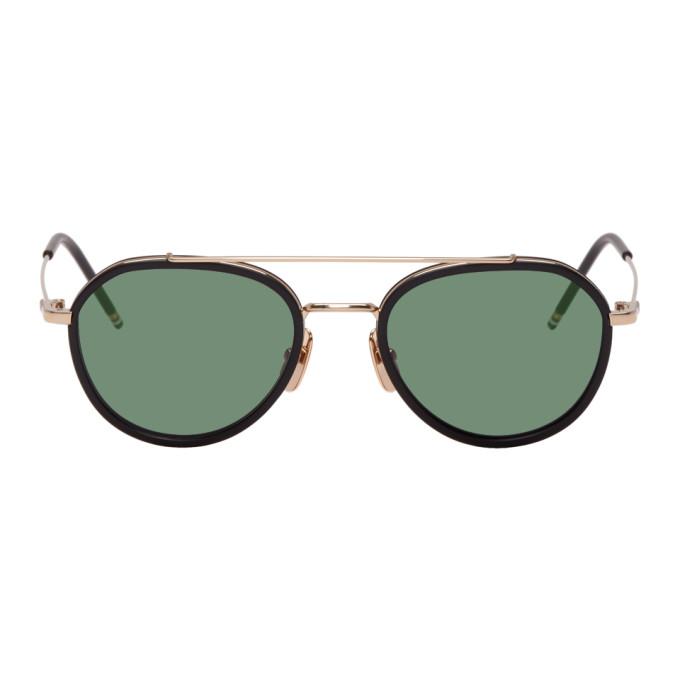 0e7e6d852495 Thom Browne Gold and Black TB-801 Sunglasses | The Fashionisto