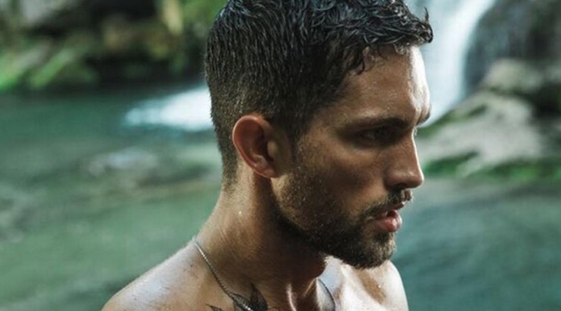Going shirtless, Tobias Sorensen fronts the Davidoff Run Wild fragrance campaign.