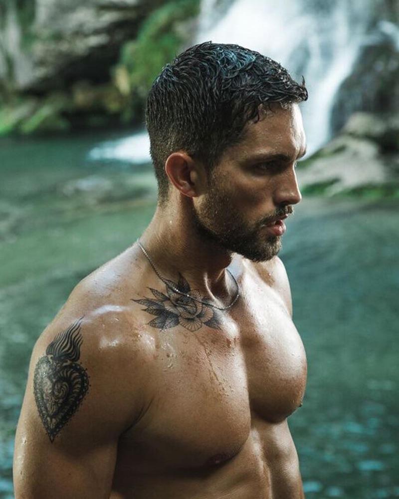 Going shirtless, Tobias Sorensen fronts the Davidoff Run Wild fragrance campaign.