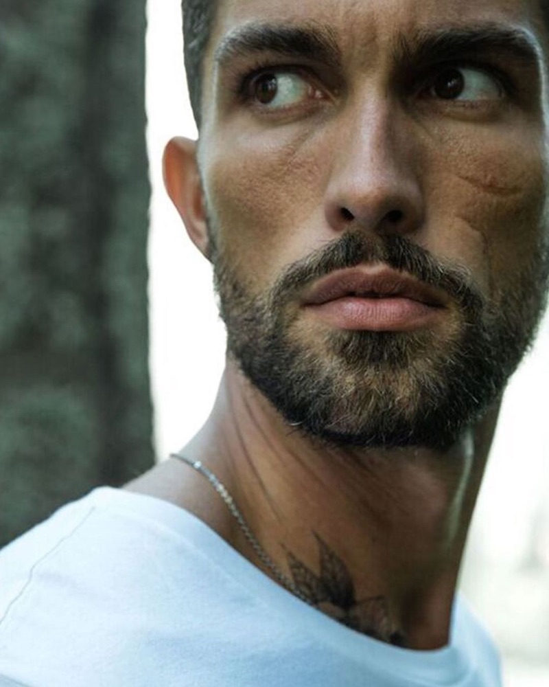 Ready for his close-up, Tobias Sorensen appears in the Davidoff Run Wild fragrance campaign.