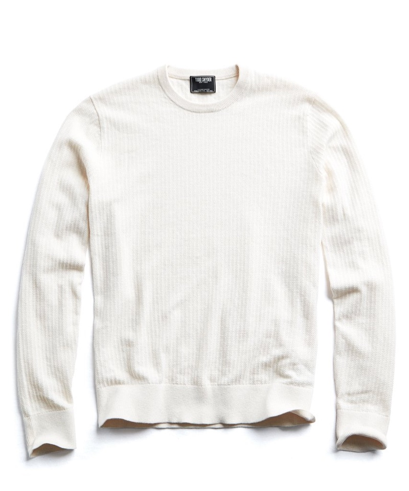 Todd Snyder Cotton Crew Neck in Cream $178