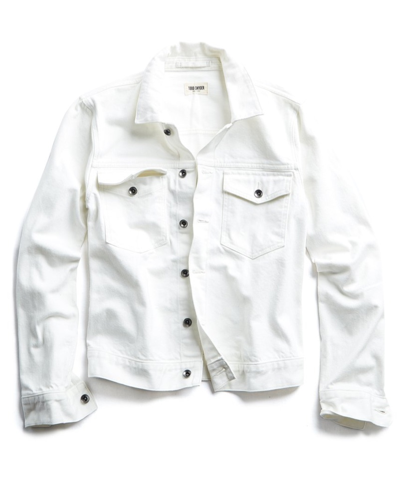 Todd Snyder Denim Selvedge Jacket in White $288