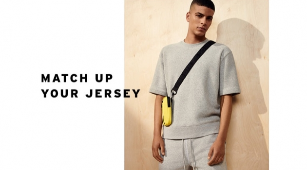 Making a case for grey, Zakaria Khiare sports a Topman toweling sweatshirt and shorts.