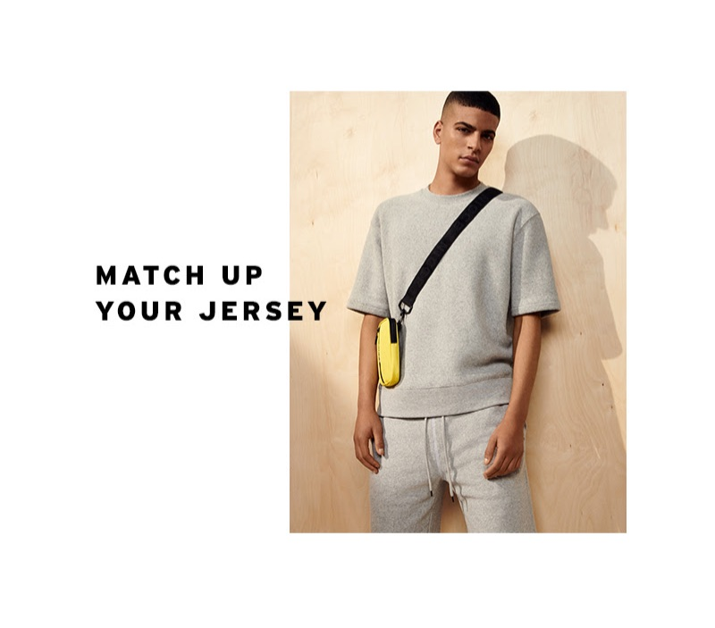 Making a case for grey, Zakaria Khiare sports a Topman toweling sweatshirt and shorts.