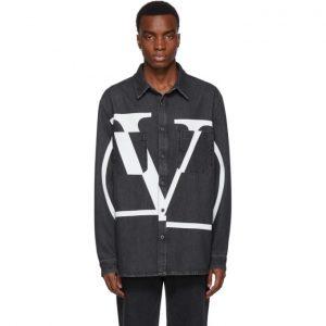 Valentino Black Denim Go Logo Shirt