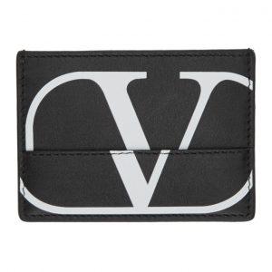Valentino Black Valentino Garavani Deconstructed Go Logo Card Holder