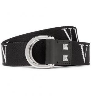 Valentino - Valentino Garavani 3.5cm Black Logo-Jacquard Webbing Belt - Men - Black