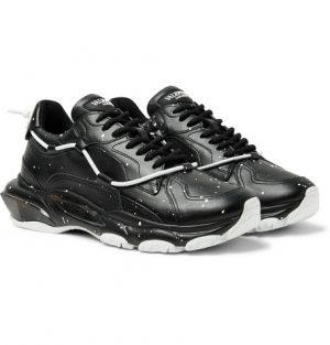 Valentino - Valentino Garavani Bounce Paint-Splattered Leather Sneakers - Men - Black