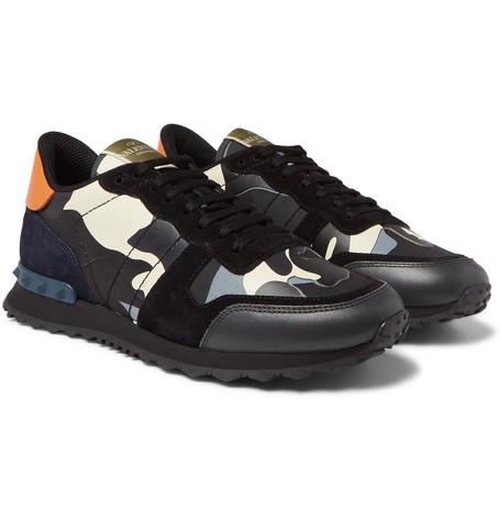 adaf1e9f2f6e7 Valentino - Valentino Garavani Rockrunner Camouflage-Print Canvas, Leather  and Suede Sneakers - Men