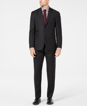 Vince Camuto Men's Slim-Fit Stretch Charcoal Flannel Wool Suit