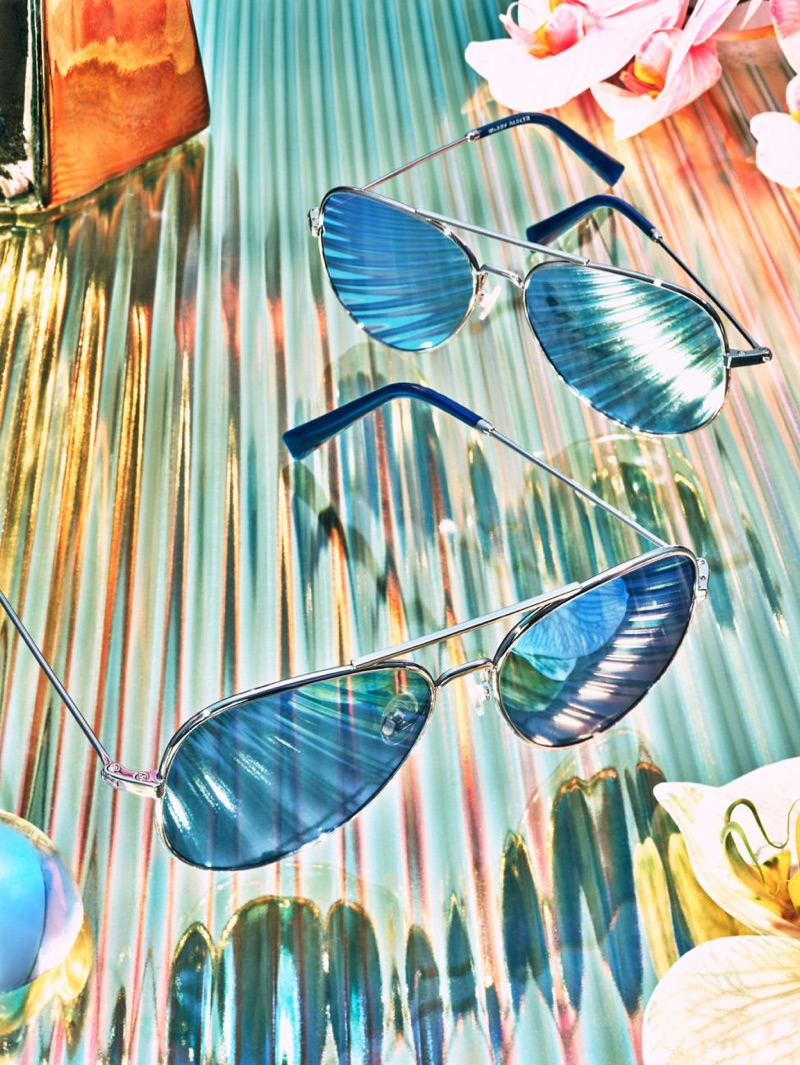 Raider Aviator Sunglasses in Silver with Mirrored Light Blue Lenses from Warby Parker