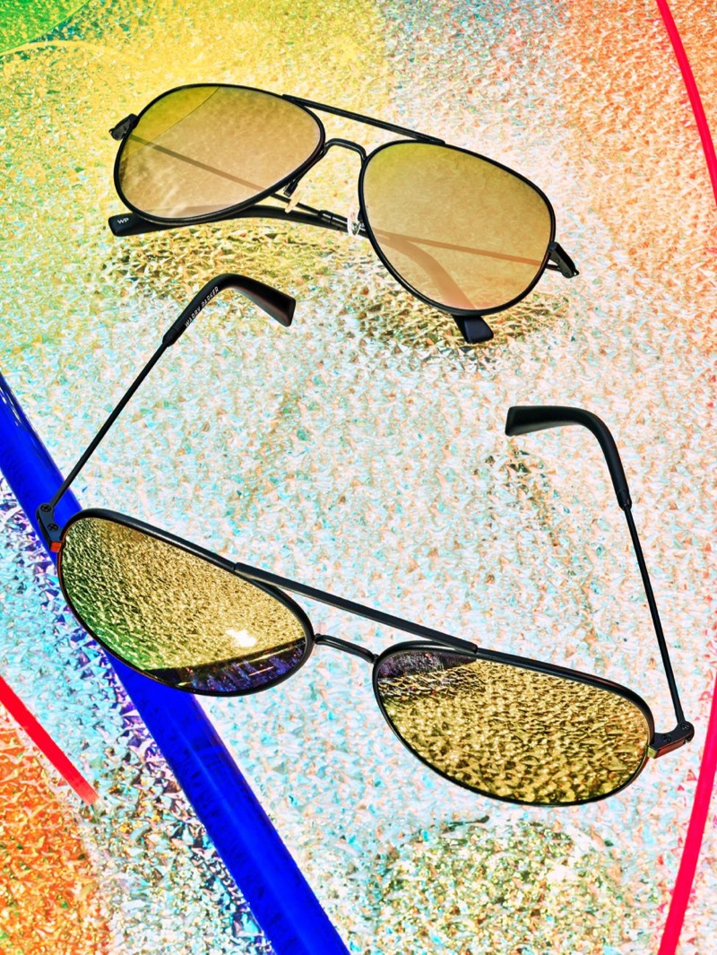 Raider Aviator Sunglasses in Brushed Ink with Flash Gold Lenses from Warby Parker