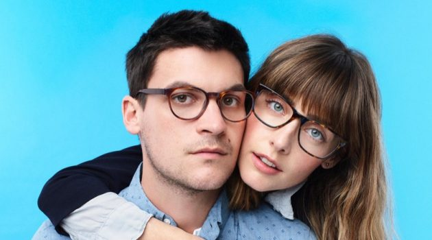 Miles Garber poses with his girlfriend Julliete. Miles sports Warby Parker's Percey glasses, while Julliete dons the label's Yardley style.