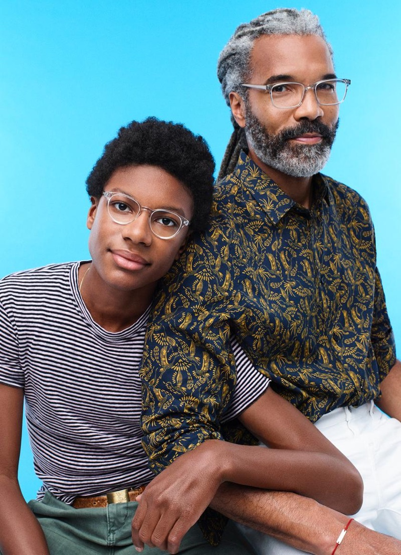 Posing with his father, Silas wears Warby Parker's Percey Jr. glasses. Meanwhile, Daryl sports the brand's Brady glasses.