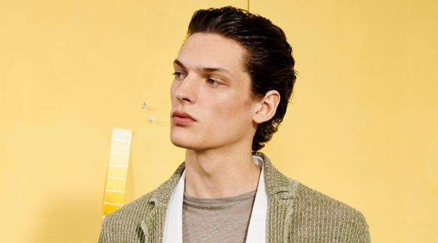 Model Valentin Caron sports fashions inspired by nature from Zara Man.