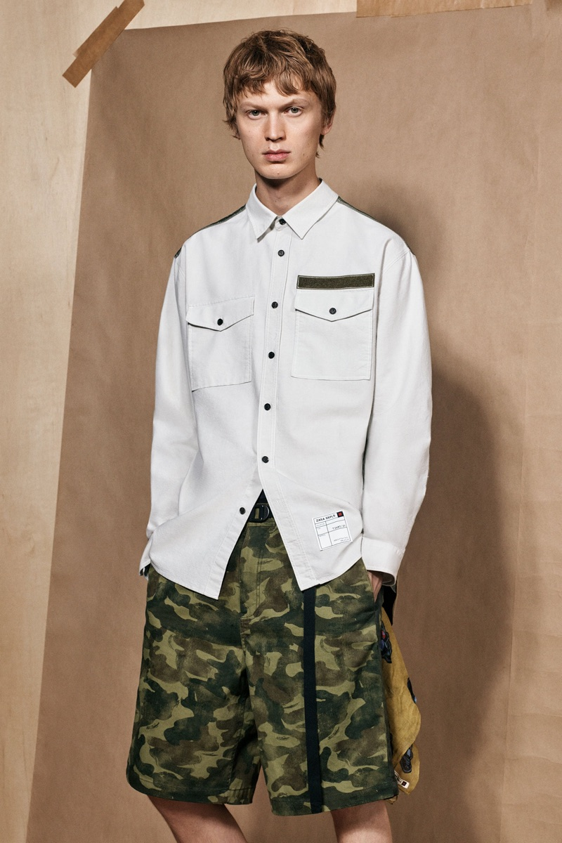 Jonas Glöer dons military-inspired style from the Zara SRPLS collection.