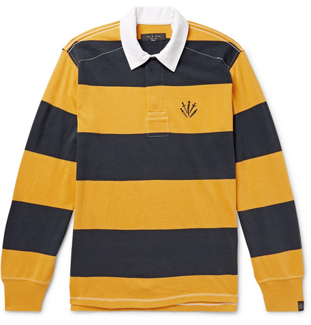 rag & bone - Logo-Embroidered Twill-Trimmed Striped Cotton-Jersey Polo Shirt - Men - Yellow