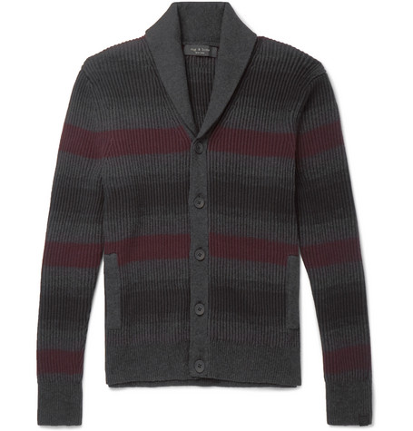 rag & bone - Shawl-Collar Striped Ribbed Cotton and Cashmere-Blend Cardigan - Men - Gray