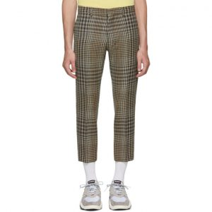 AMI Alexandre Mattiussi Black and Beige Checkered Cropped Trousers