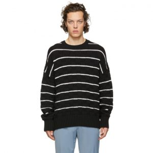 AMI Alexandre Mattiussi Black and White Knit Striped Oversized Sweater