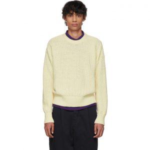 AMI Alexandre Mattiussi Off-White Basket Weave Sweater