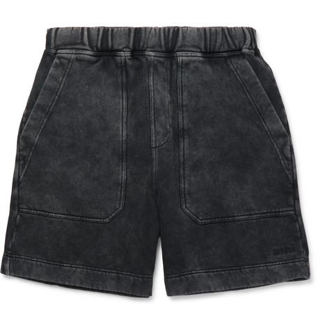 AMI - Logo-Embroidered Acid-Wash Cotton-Jersey Shorts - Men - Black