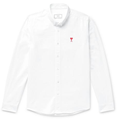 AMI - Slim-Fit Button-Down Collar Logo-Embroidered Cotton Oxford Shirt - Men - White