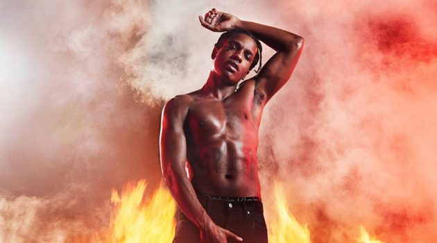 A$AP Rocky goes shirtless for Calvin Klein's #MYCALVINS' spring-summer 2019 campaign.