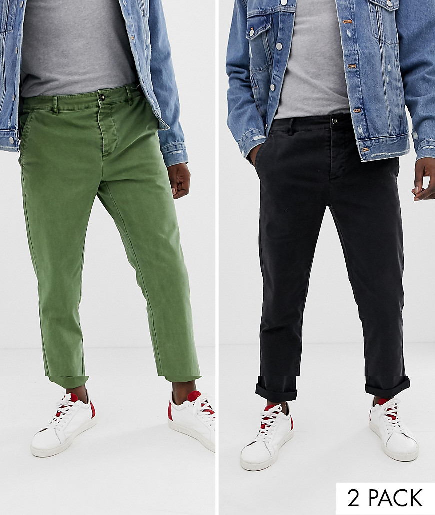 quality first how to get popular brand ASOS DESIGN 2 pack slim chinos in washed green & black - Multi