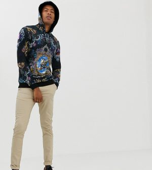 ASOS DESIGN Tall hoodie in velour with baroque print - Multi