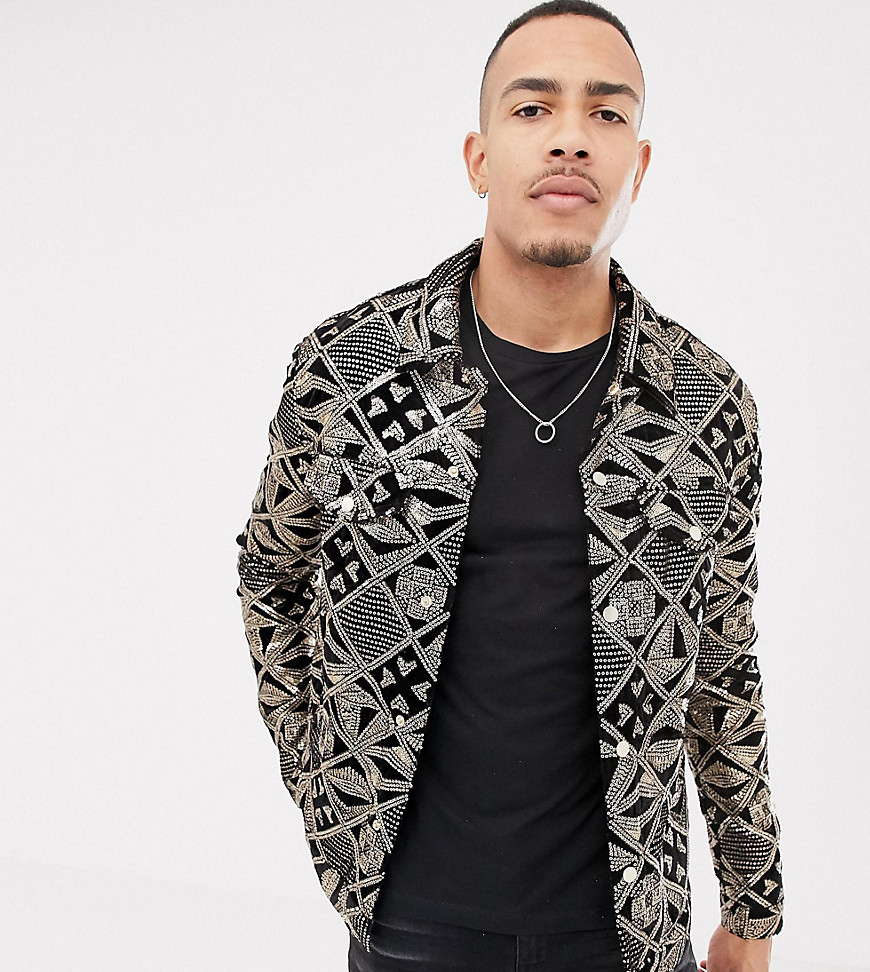 24926abad ASOS DESIGN Tall western jacket with gold sequins in black velour - Black