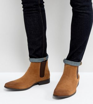 ASOS DESIGN Wide Fit chelsea boots in tan faux suede - Tan