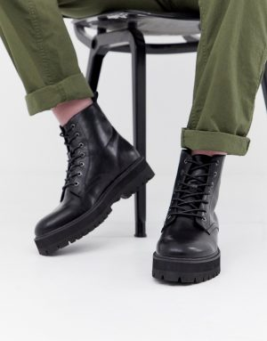 ASOS DESIGN black lace up boots in faux leather with raised chunky sole - Black