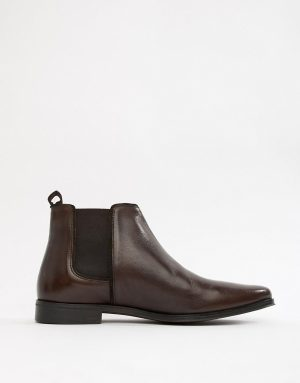 ASOS DESIGN chelsea boots in brown leather with brown sole - Brown