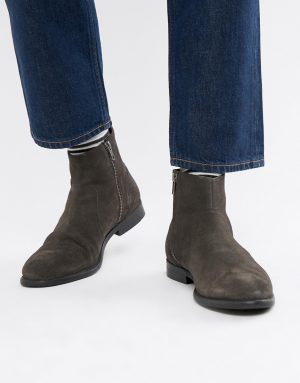ASOS DESIGN chelsea boots in gray suede with black sole - Gray