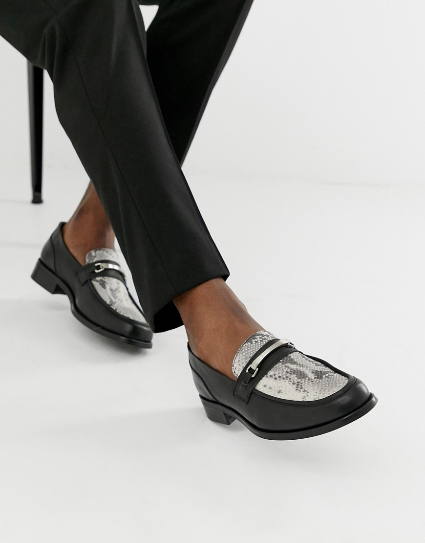 10d42fcd19 ASOS DESIGN chunky sole loafer in black leather with snaffle – Black ...